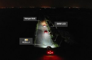 Image shows how Boslla Bullet is different from other headlights.