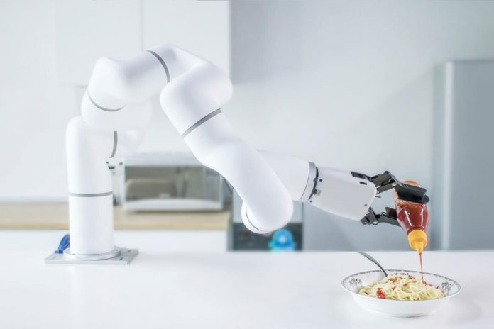 This image contains xArm serving ketchup.