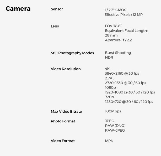Hover 2 Camera Technical Specifications