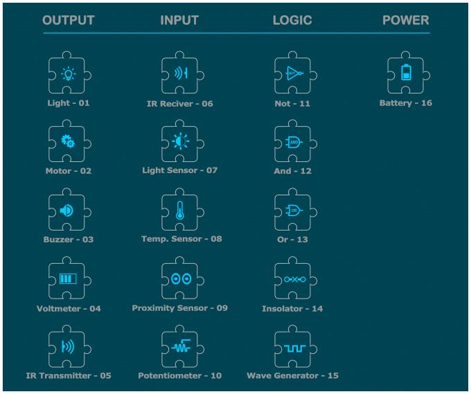 ActivePuzzle: 16 different blocks