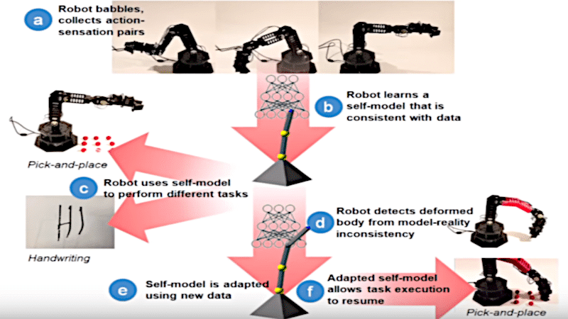 Robot performing different tasks.