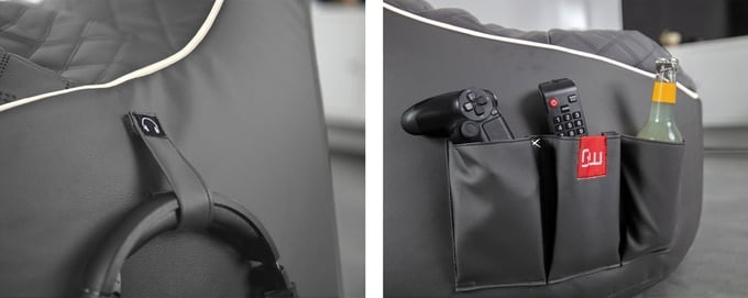 It has multiple pockets and a headset holder