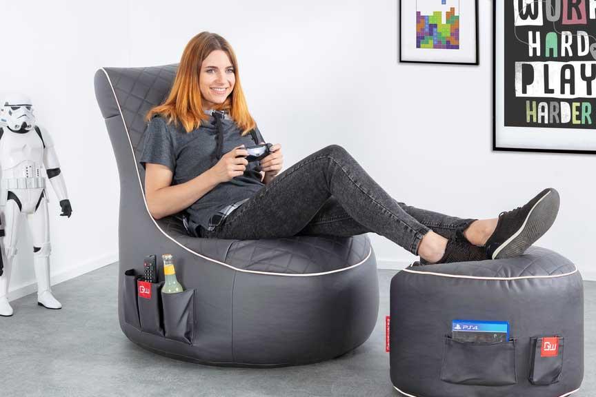 Swell Gamewarez Granite Hurricane First Official Gaming Beanbag Inzonedesignstudio Interior Chair Design Inzonedesignstudiocom