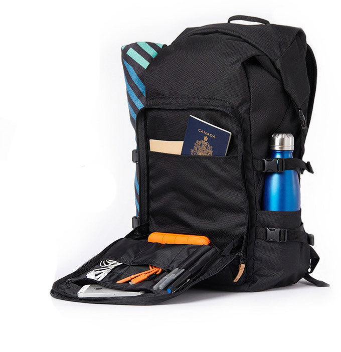 Mobius backpacks' padded front pocket comes with number of different compartments