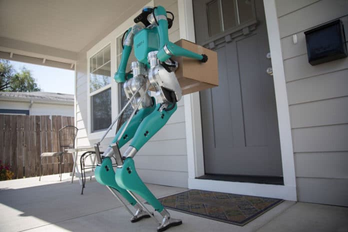 Digit, a two-legged robot for package deliveries.