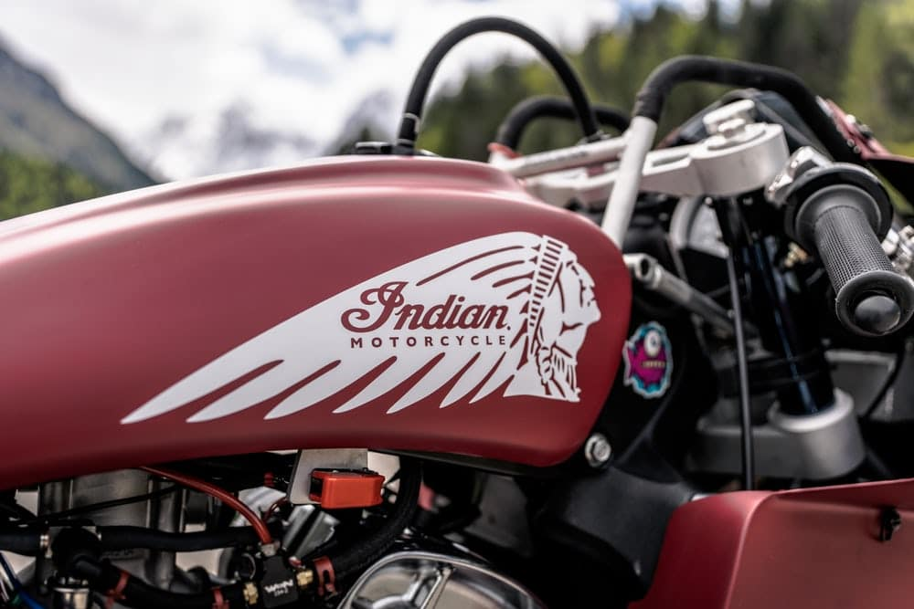 """Fuel tank"" has been chopped down to be a cover for a tiny fuel cell(Credit: Indian Motorcycle)"