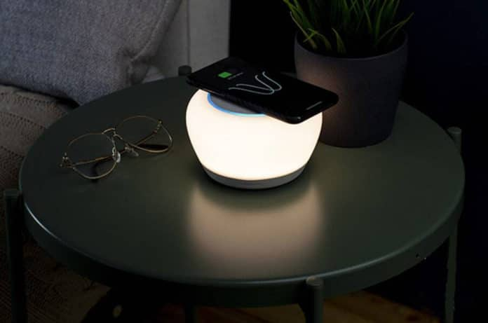The first lamp that integrates Alexa voice services and Qi wireless charging.