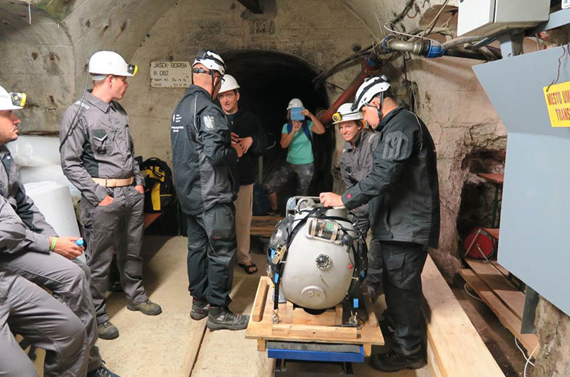 The UX-1a prototype ready to be released during the field tests in the mine from Idrija