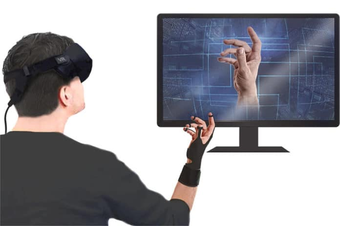 A glove for user interaction with VR. The glove transmits the hand motion of the user to the VR and transmits the stimulus to the user. The figures were created by the authors.