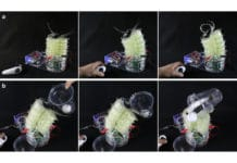 This soft robotic device was inspired by an elephant trunk. The device can also move a ping pong ball from one cup to another.