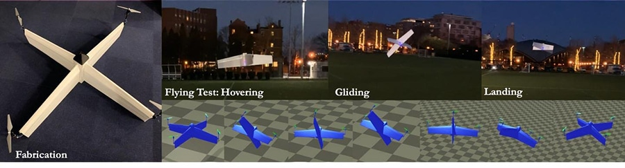 We propose a computational approach to automatically design a mode-free, model-agnostic neural network controller for customized hybrid UAVs (left). Our novel reinforcement learning framework enables the training of a controller in a stochastically enhanced physics simulator (right bottom) and the crossing of the gap between simulation and reality (right top).