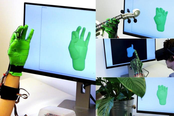 The stretch-sensing soft glove captures hand poses in real time and with high accuracy. It functions in diverse and challenging settings. Image Credit: ETH Zurich.