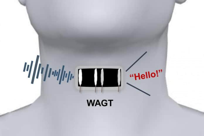 "A wearable artificial graphene throat, abbreviated here as ""WAGT"