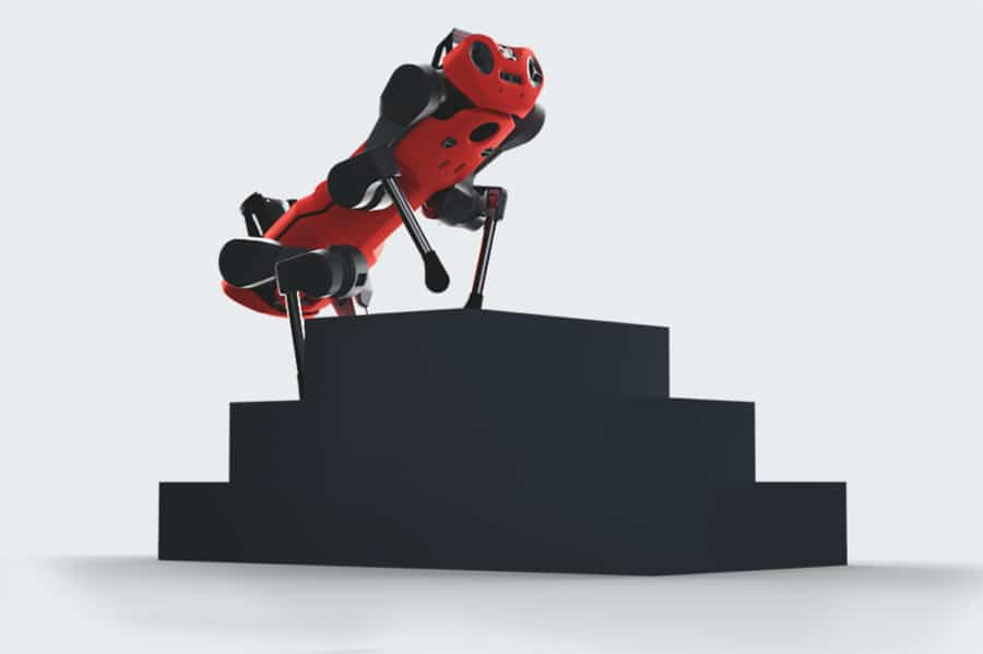 The robot can move over uneven terrain, and even climb up and down stairs./ Image Credit: ANYbotics