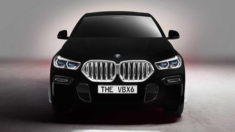 The BMW Vantablack X6 front view