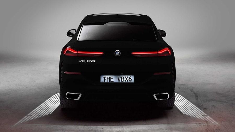 The BMW Vantablack X6 rear view