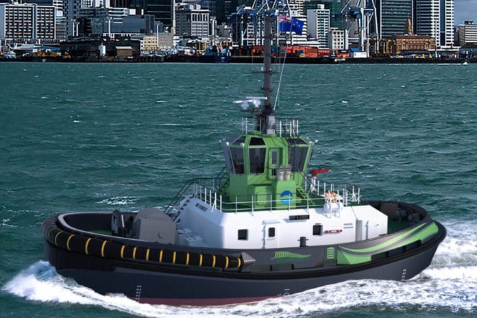 Innovative vessel will be first fully electric ship-handling tug with 70 tonnes bollard pull. Image Credit: Damen
