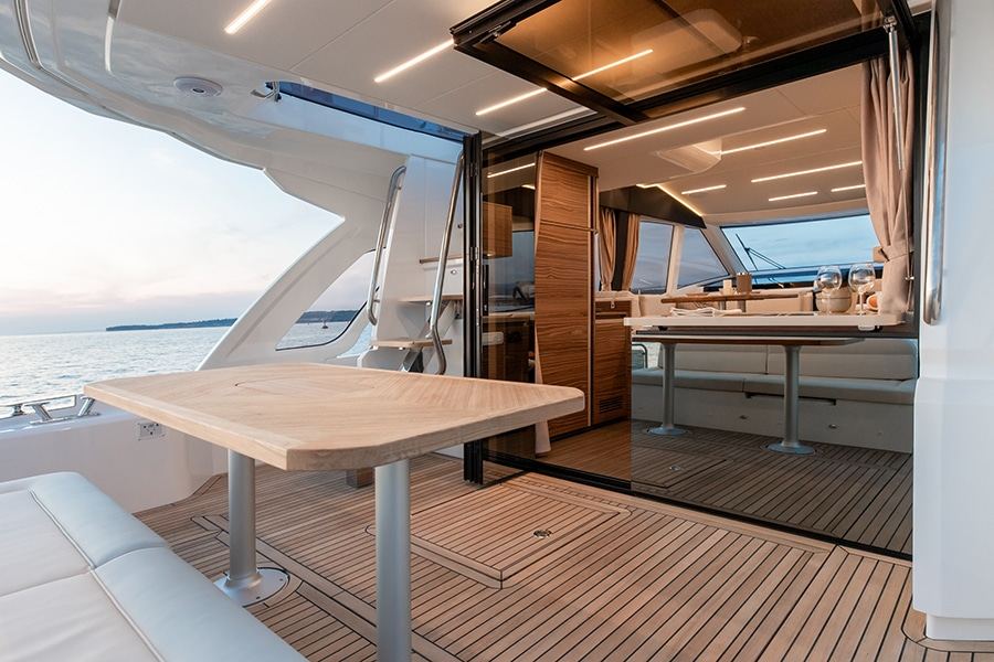 A sheltered cockpit and foredeck covered with a collapsible canopy offer plenty of space to unwind.