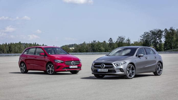 Mercedes-Benz Plug-in-Hybrid A250e and Mercedes-Benz Plug-in-Hybrid B250e. Image Credit: Mercedes-Benz