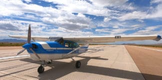 A 1968 Cessna 206 with ROBOpilot installed preparing for engine start on the runway at Dugway Proving Ground, Utah. Image Credit: US Air Force.