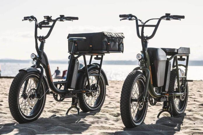 The RadRunner is a sleek, fun, and functional ebike that's part moped, part cargo bike./ Image Credit: Rad Power Bikes