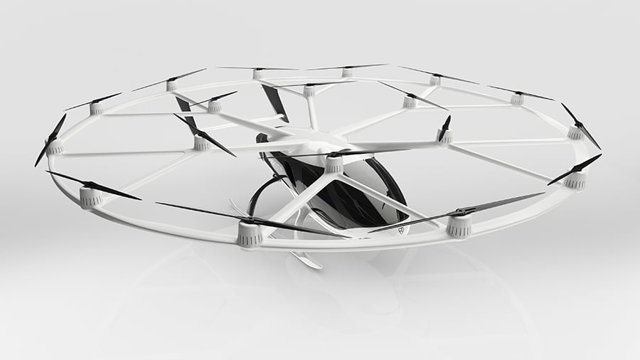 VoloCity features a massive 18 rotors with aerodynamically shaped rotor beams./ Image Credit: Volocopter