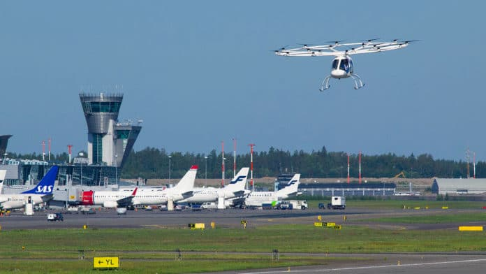 Volocopter 2x integrated into the airspace at Helsinki international airport.