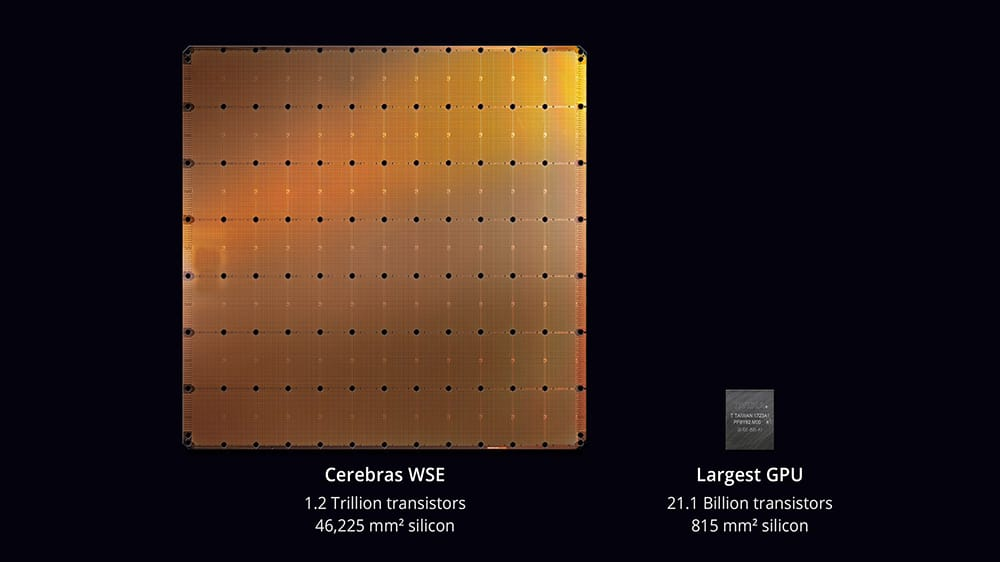 WSE chip is 56x the size of the largest GPU