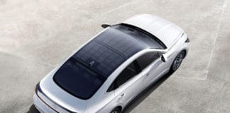 Being able to charge even while driving, the solar roof system can charge 30 to 60 per cent of the battery per day. Image Credit: Hyundai