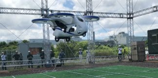 Japanese drone like Flying Car prototype takes a test flight