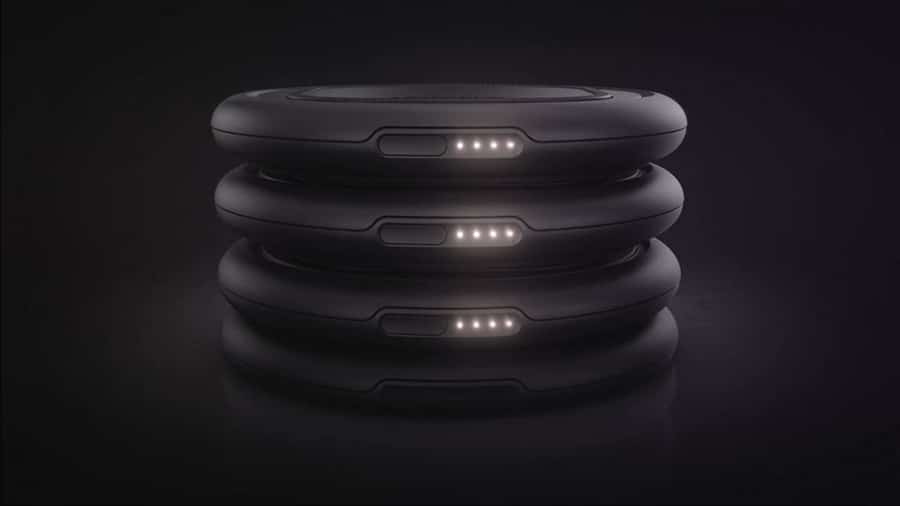 The OtterSpot Charging Base can power three wireless charging batteries and a device. Image Credit: OtterBox