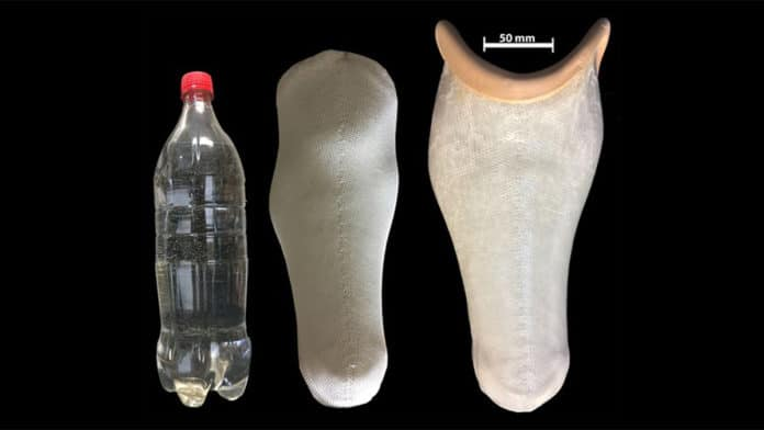 The first-of-its-kind prosthetic socket made from plastic water bottle. Image Credit: De Montfort University Leicester