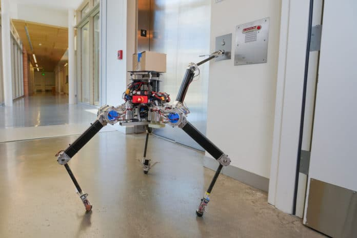 A tripedal compromise configuration, with three legs and one arm, is more stable and allows the robot to do things like push buttons, open doors.