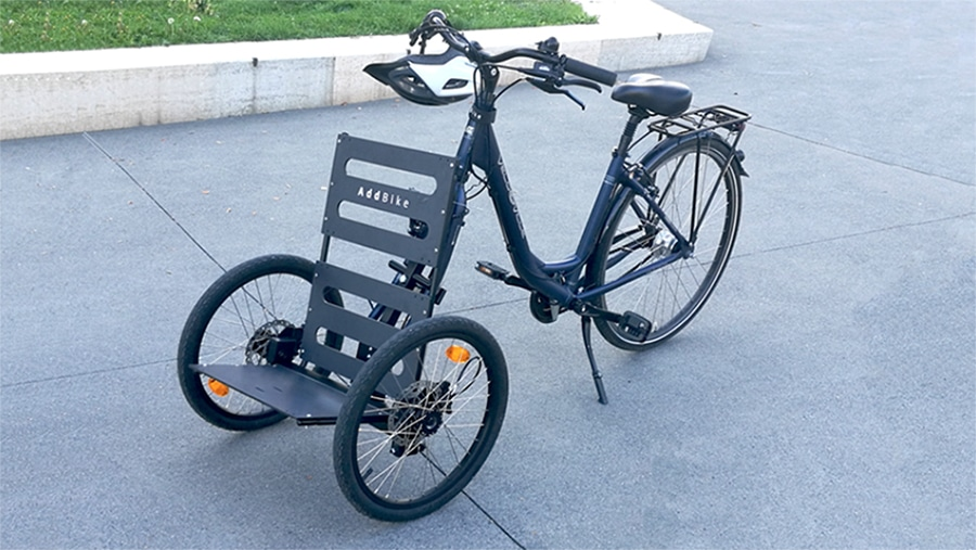The AddBike - a two-wheeled cargo carrier that replaces a bike's front wheel.