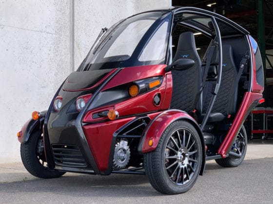 The two-person three-wheel electric reverse tricycle.