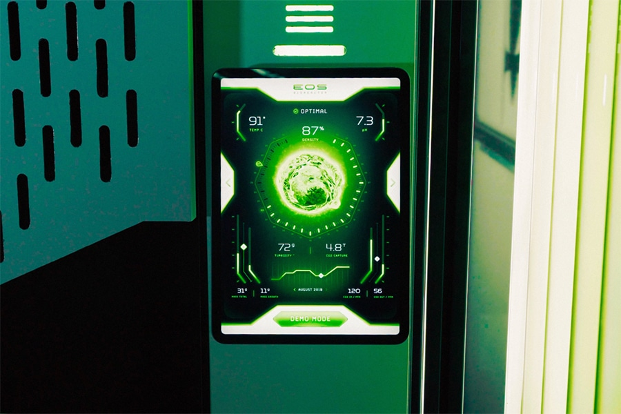 The A.I. monitors light, heat, growth, water speed, pH, CO2, oxygen output and more.