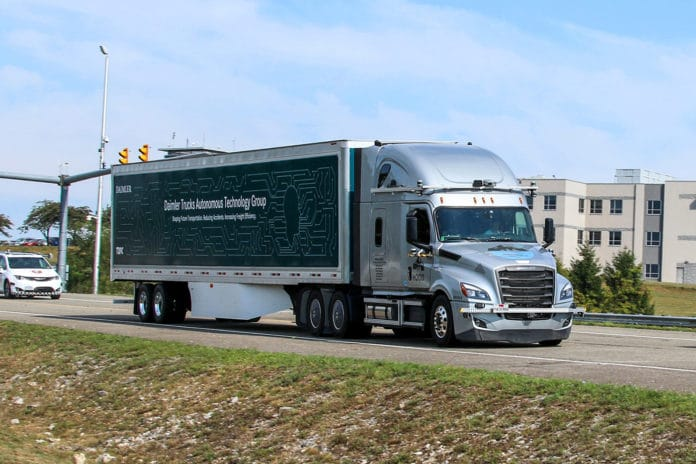 Testing of trucks with SAE Level 4 intent technology on public roads in Virginia. Credit: Daimler