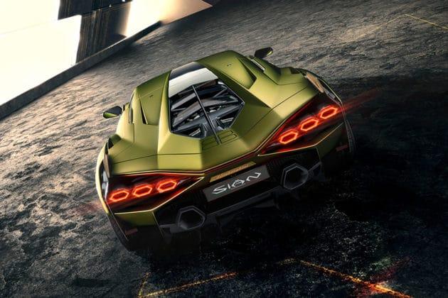 The car incorporates the hexagonal design and has six hexagonal tail lights. Image Credit: Lamborghini