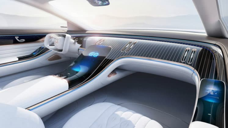 In the interior, Mercedes relies on a continuous, touch-based projection screen as a dashboard.