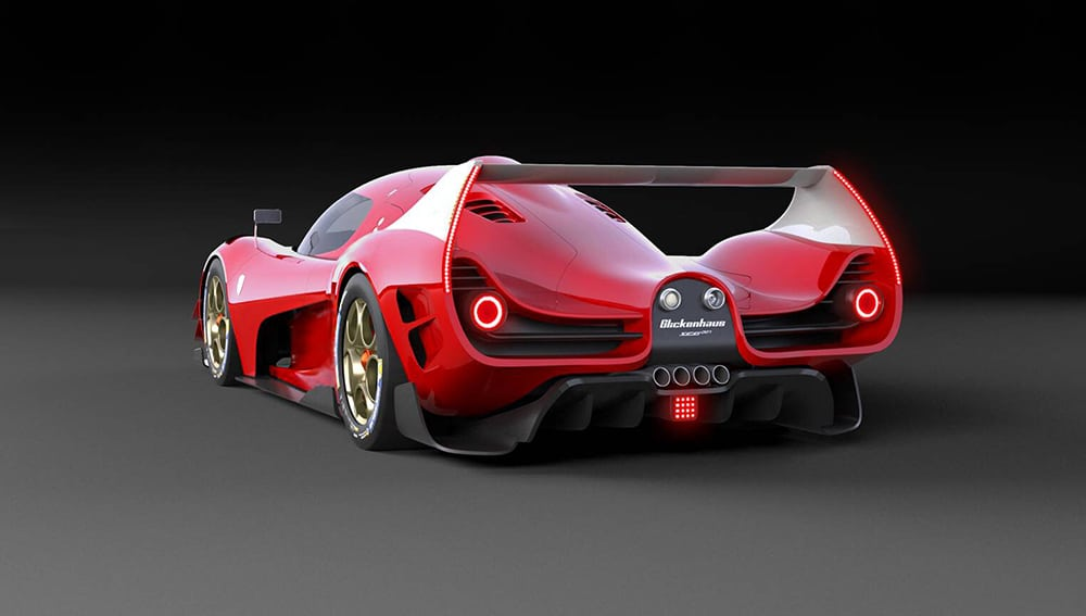 The rear wing is enormous, positioned up in the airstream