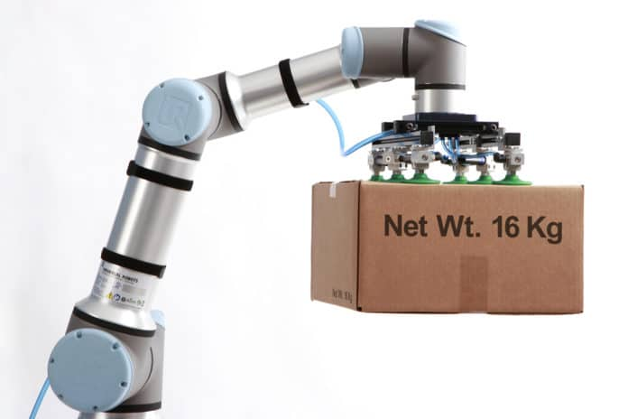 The Universal Robots UR16e delivers an impressive 16kg (35.3 lbs.) of payload