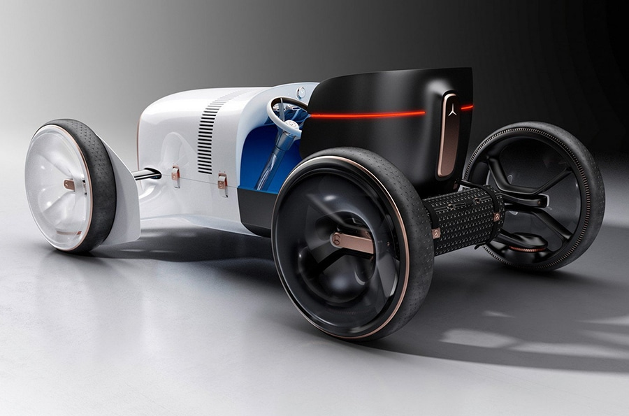 A two-seater with freestanding wheels, an alternative drive, exciting User Interface and a thrilling design.