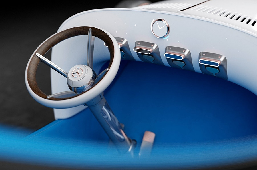 The design of the steering column and the switches on the instrument panel were inspired both by motorcycles and by nautical design