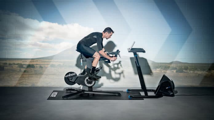The KICKR BIKE redefines the indoor exercise bike with its realistic ride experience and pro-cyclist levels of customization. Credit: Wahoo Fitness