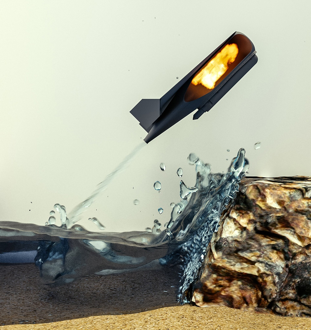 A bio-inspired bot uses water from the environment to create a gas and launch itself from the water's surface.