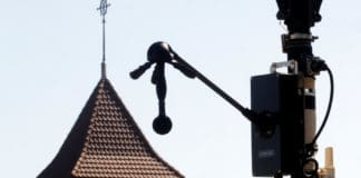 """A newly installed """"noise radar"""", a measuring device that can precisely measure and locate sounds from a moving vehicles as well as register their licence plates. Image Credit: REUTERS"""
