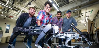 Kaveh Hamed and his research team at the Hybrid Dynamic Systems and Robot Locomotion Lab work to enhance agility, stability, and dexterity of four-legged robots.