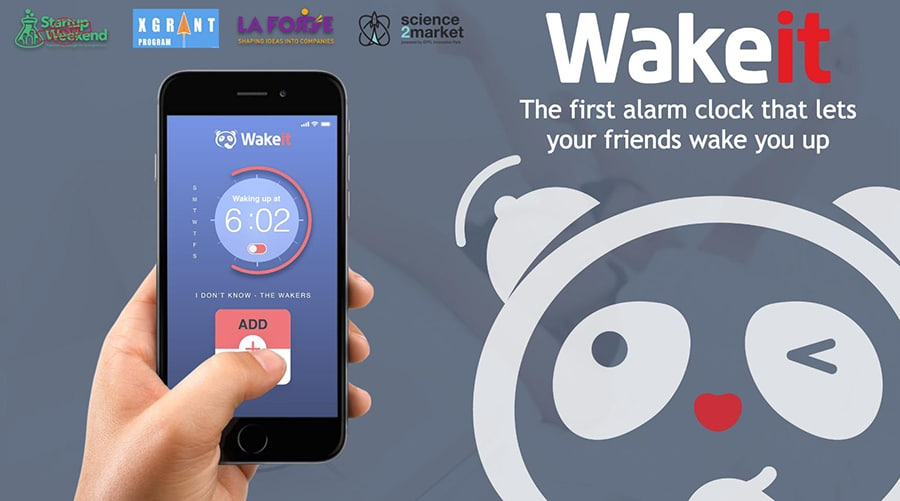Wakeit, a free alarm-clock app powered by social media. Image Credit: EPFL