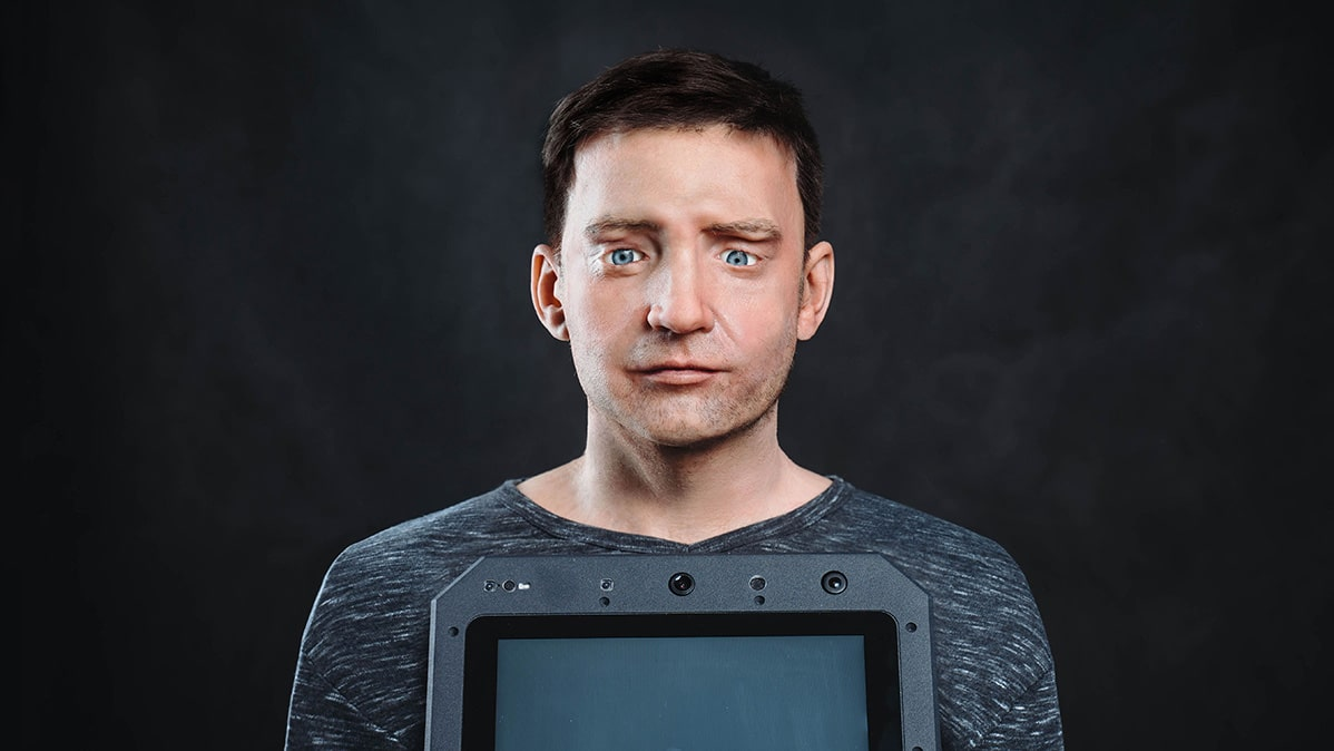 The robot has over 600 facial expressions.