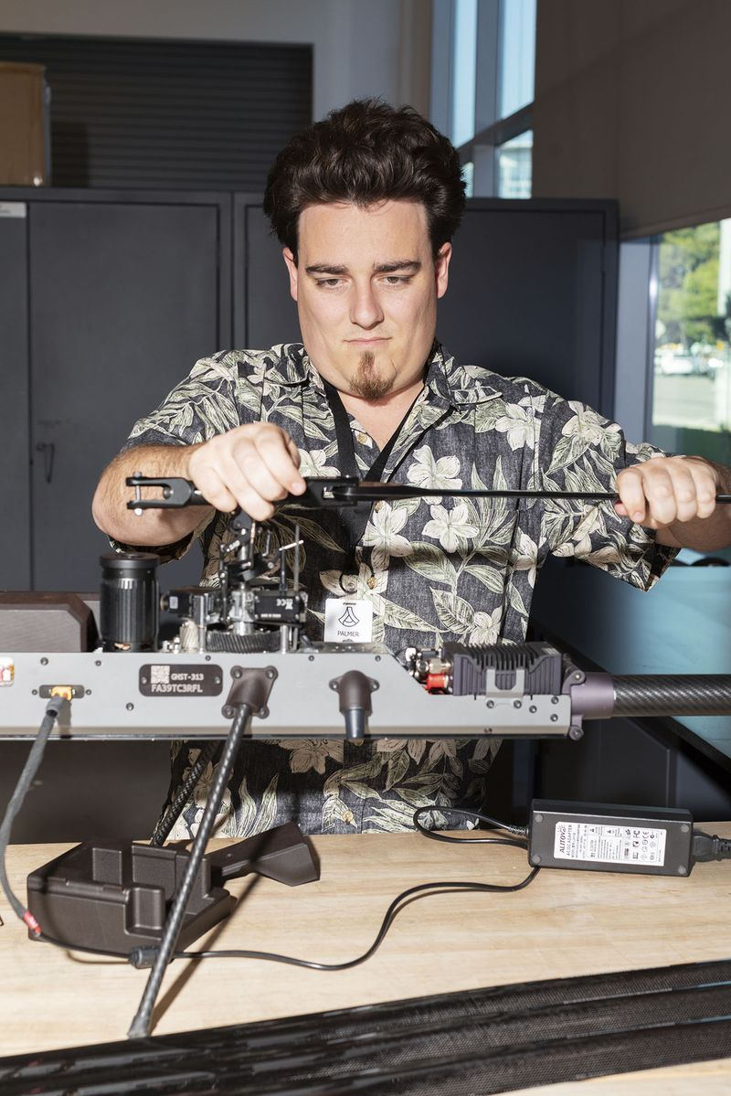 Anduril founder Palmer Luckey with one of his creations.